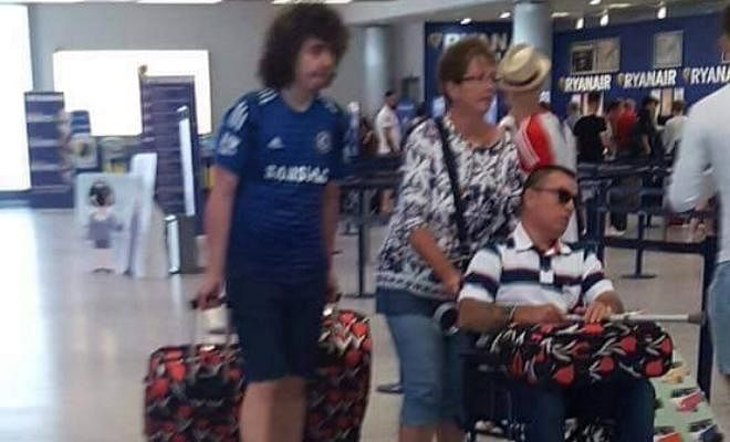 Jack Wilshere and David Luiz spotted at the airport earlier today