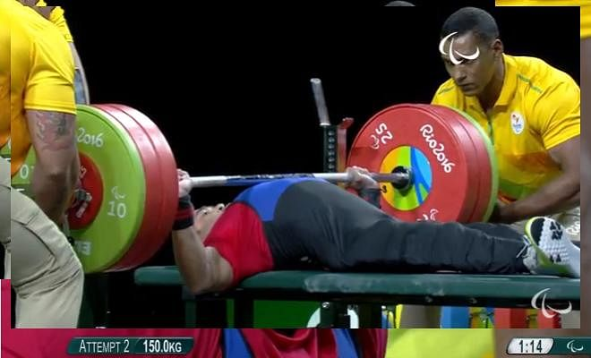 Farman Basha while lifting 150 kg in his second attempt!