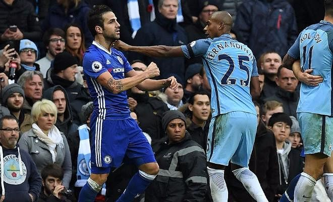 Fernandinho is bound to be banned for at least three games after recieving a red card on the spot for grabbing Cesc Fabregas by the throat. The Spanish midfielder was given a yellow but FA are waiting to find out if it was for the slap. If referee Taylor says it wasn't, then the FA are likely to charge Fabregas retrospectively with violent conduct.