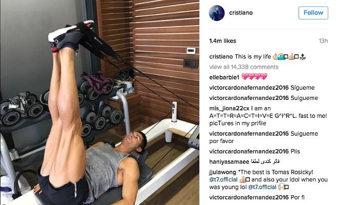 RONALDO SWEATS IT OUT AT THE GYMCristiano Ronaldo has posted on Instagram and showcased his muscular legs with the caption 'this is my life'. No wonder his shots pack a punch.