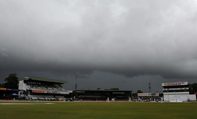 Play called off after 15 overs on Day 1 due to rain. India 50/2