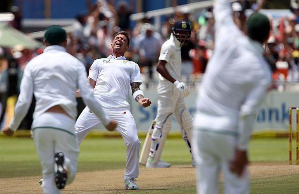 'Dale Steyn celebrating after a wicket'