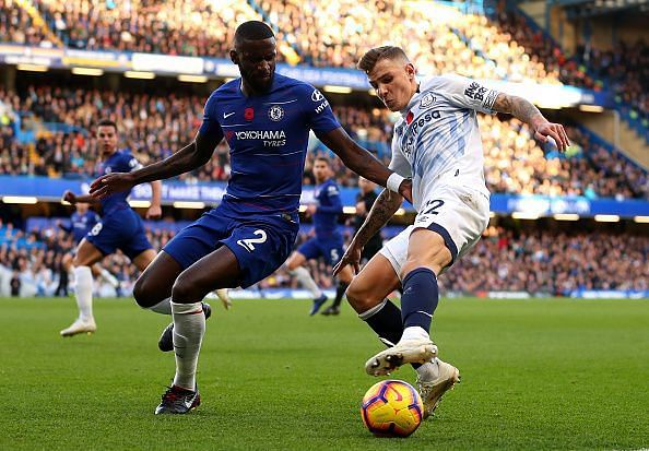 Lucas Digne (right) in action during Everton's 0-0 draw against Chelsea on Sunday.