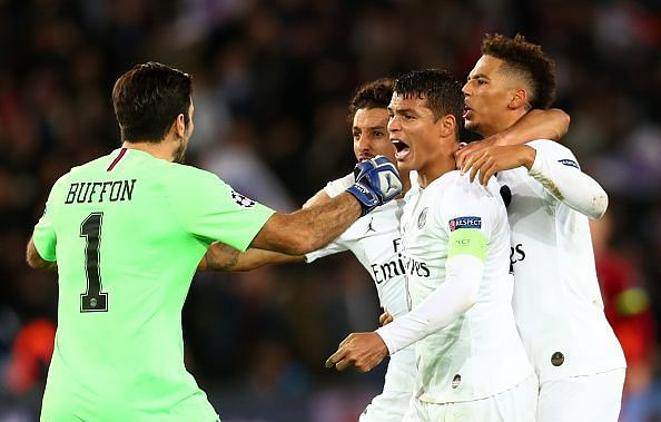 Silva celebrates at full-time with his defensive teammates and Buffon after an important group stage win