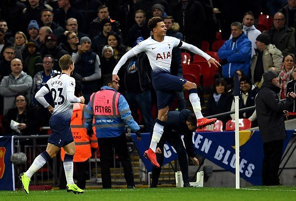 Alli celebrates his headed strike after Eriksen's beautifully weighted delivery into the box