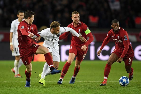 Neymar's eagerness to constantly be on the ball saw him focused upon by Liverpool players throughout