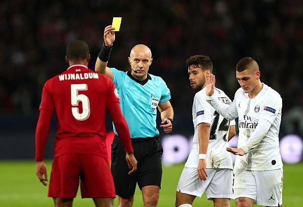 Wijnaldum struggled to deal with PSG's quality in midfield and was lucky not to have been sent off