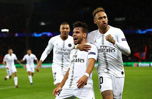 Neymar and Mbappe wheel away to celebrate Bernat's opening goal during their 2-1 win over Liverpool