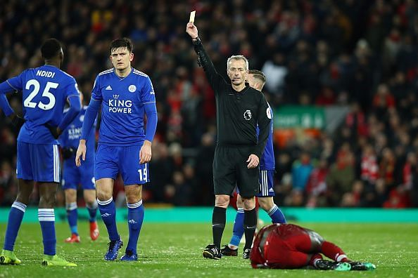 Maguire was fortunate not to have been given a straight red after a clumsy tackle on Mane