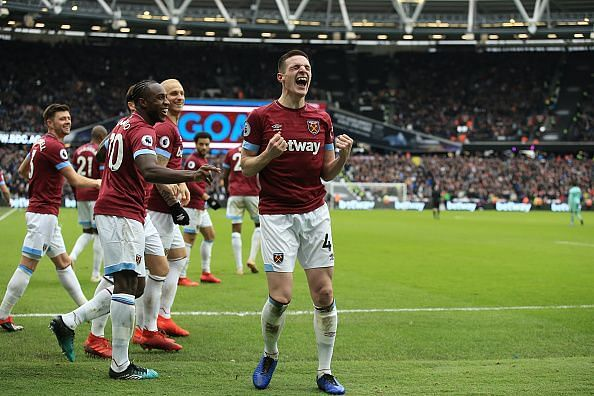 Declan Rice celebrates his first senior goal to sink a disappointing Arsenal side at the London Stadium