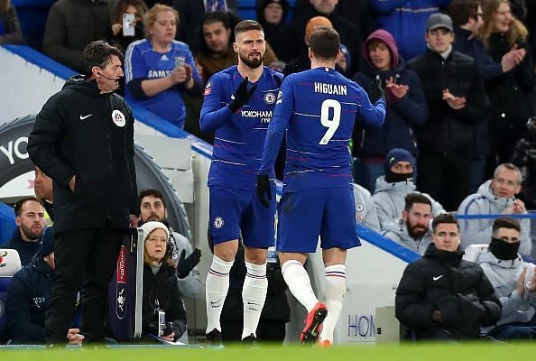 Giroud replaced Higuain during Chelsea's FA Cup win over Sheffield Wednesday - another sub appearance