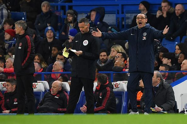 Sarri was regularly frustrated on the touchline as his Chelsea side lost again
