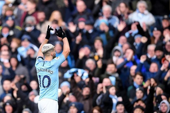 Aguero celebrates one of his goals, during another memorable display from the world-class Argentine