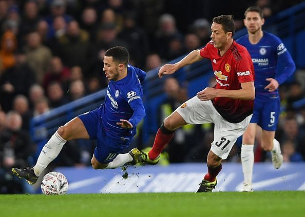 Hazard endured a tough time as United made sure to double on him in the final third, leaving him frustrated