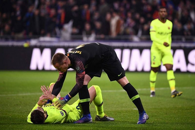 ter Stegen made a string of important saves as Lyon threatened early on