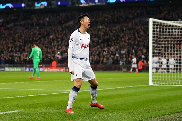 Son celebrates his first Champions League goal of the 2018/19 campaign, to break the deadlock