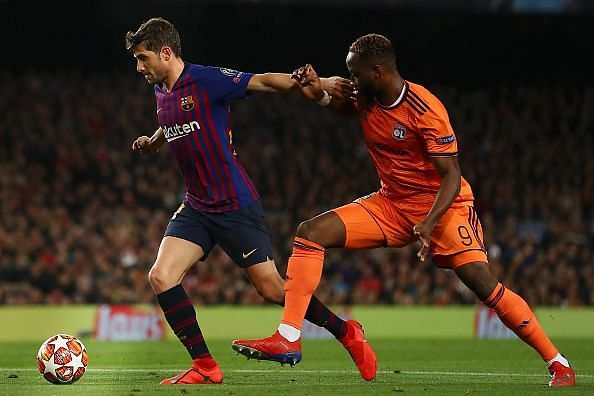 Dembele found himself effectively shackled against the likes of his compatriot Lenglet and Roberto (left)