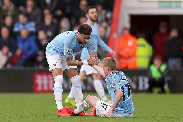 de Bruyne limped off with a hamstring injury just after the break, while Stones (groin) was soon replaced too