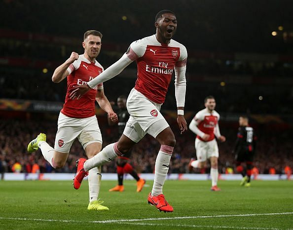 Maitland-Niles wheels away to celebrate his first European goal, in an excellent display from the youngster