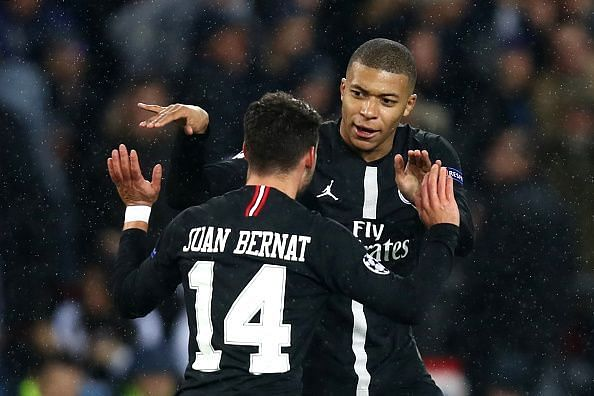 Bernat celebrates his equaliser with Mbappe, on an evening where the Spaniard didn't deserve to lose