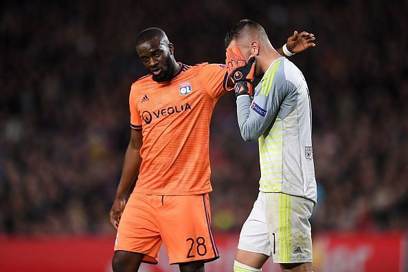 Ndombele comforts a tearful Lopes as the first-choice 'keeper was forced off after a concussion
