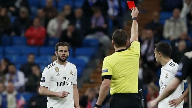 Nacho's night went from bad to worse after a late sending off for needless foul