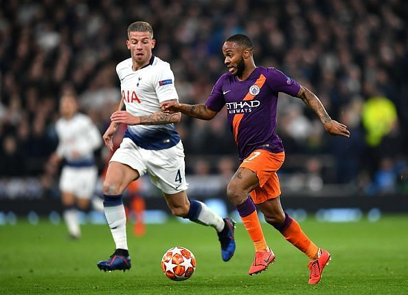 Alderweireld in pursuit of City's best attacker on the evening, Raheem Sterling
