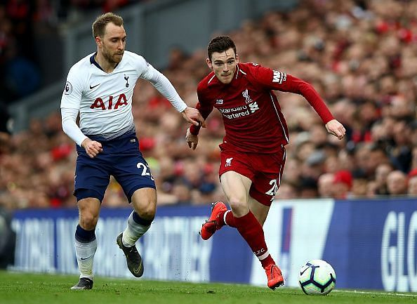 Robertson defended well to thwart Eriksen as he threatened, while creating an excellent assist for Firmino