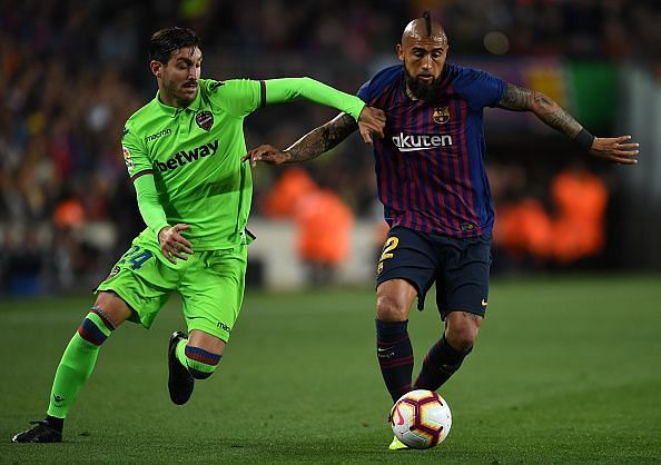 Vidal enjoyed one of his best performances for Barcelona to date, excelling in midfield