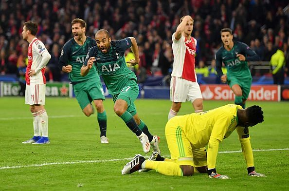 Moura wheels away to celebrate his hat-trick, sealing Spurs' passage into the Champions League Final
