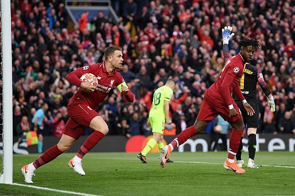 Henderson picks up the ball seconds after Origi breaks the deadlock with six minutes on the clock