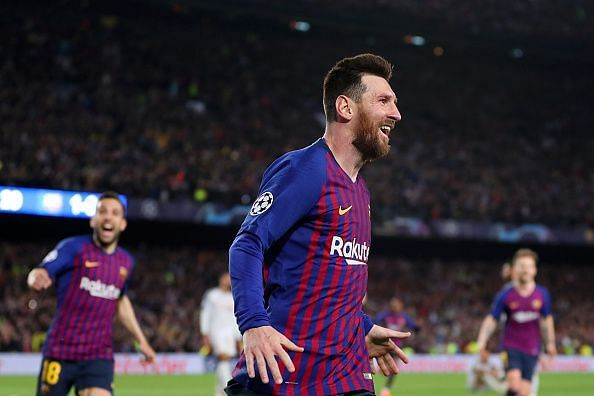 Messi wheels away to celebrate the first of his well-taken brace against Liverpool in their UCL SF first leg