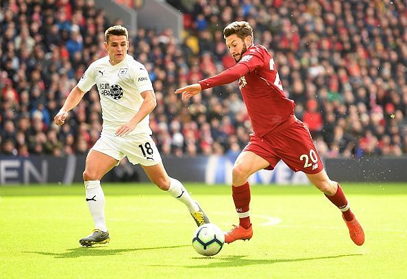 Lallana on a rare Premier League start against Burnley, back in March