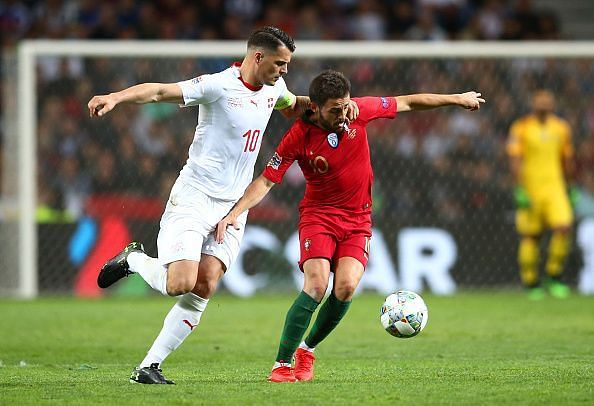 Bernardo Silva (right) was Portugal's best player barring Cristiano, while Swiss captain Xhaka struggled