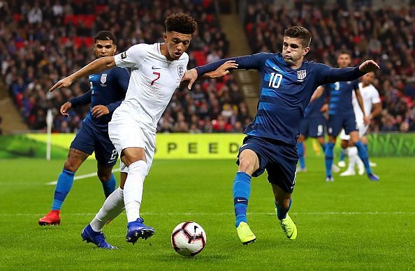 Sancho and Pulisic, club teammates, in action during England's friendly win over the United States