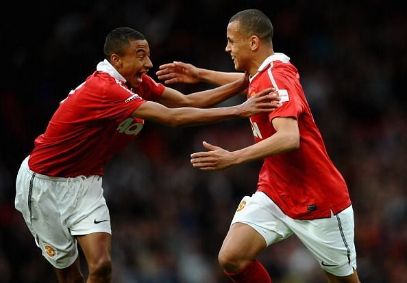 Lingard and Morrison celebrate during United's FA Youth Cup Final win over Sheffield United in 2011