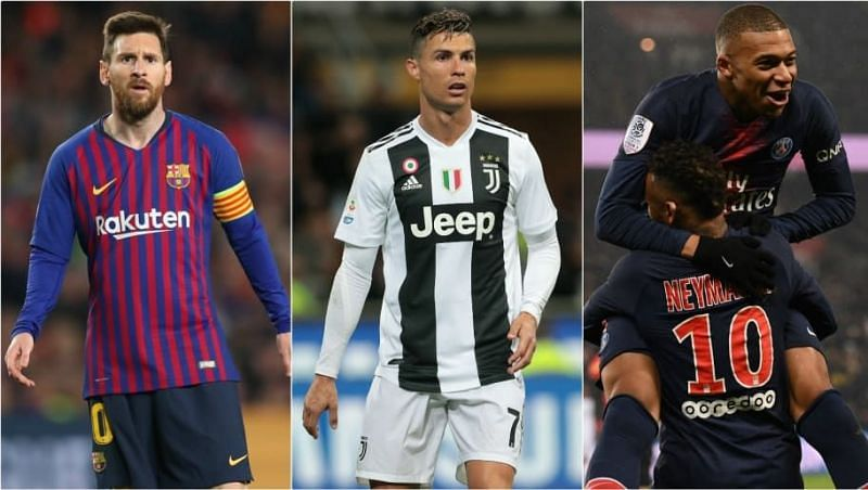 Messi's Barcelona, Ronaldo's Juventus and Mbappe-Neymar at PSG all feature (Picture source: 90Min)