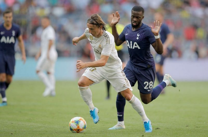 Ndombele harrying Modric in possession during another encouraging display from Tottenham's new recruit