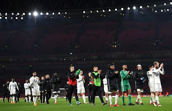 Ostersunds players applaud their fans after their Europa League campaign came to an end in north London
