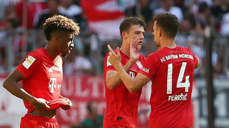 Pavard celebrates with Perisic and Coman - both players who tend to earn more credit in wins like these