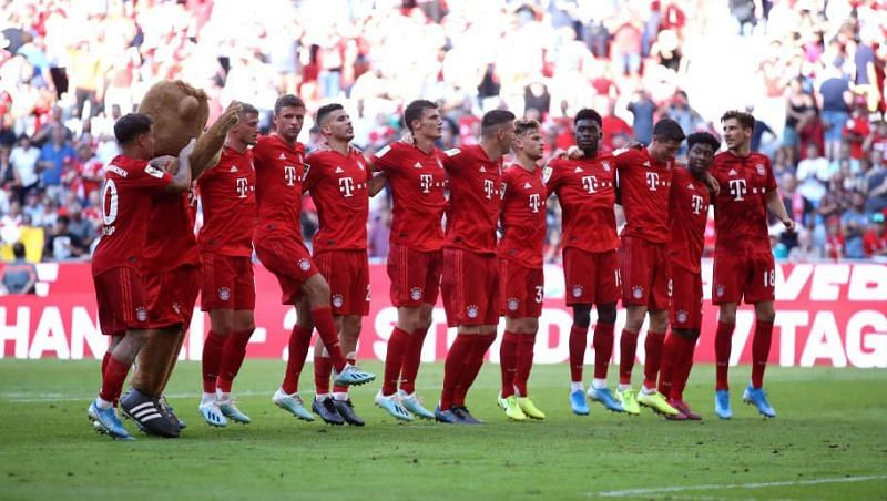 Bayern celebrate post-match after a memorable home thrashing