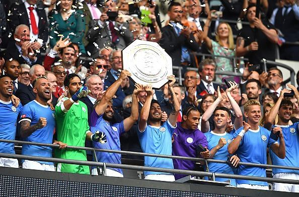 Manchester City players celebrate their Community Shield victory