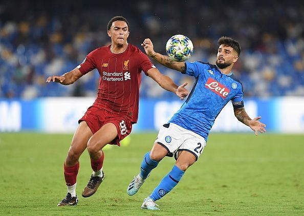 Insigne failed to take advantage against Alexander-Arnold, who was there for the taking at times