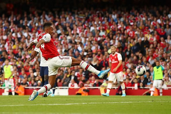 Aubameyang pokes home from close-range to level the scoring after Arsenal's second-half dominance