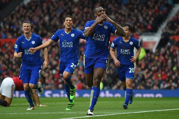 Happier times: Morgan celebrates his goal at Old Trafford during Leicester's title-winning campaign