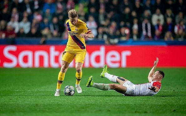 Frenkie de Jong (left) battling with fullback and Prague goalscorer Jan Boril during their 2-1 win