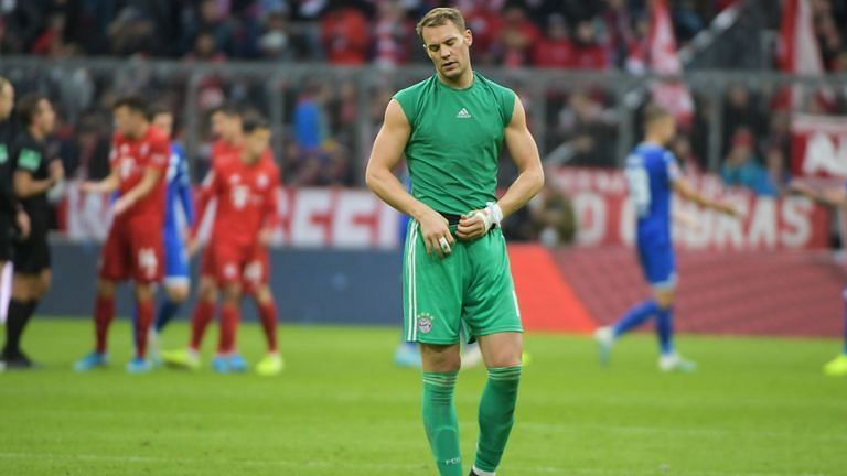 Neuer endured a forgettable afternoon as Bayern lost their first league game of the campaign