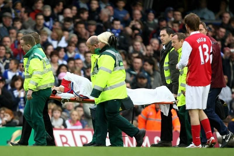 Eduardo broke his leg in a terrible injury while playing for Arsenal in 2008