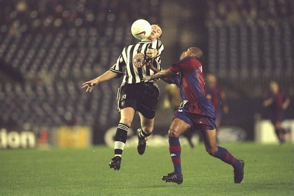 Steve Watson of Newcastle United and Sonny Anderson of Barcelona