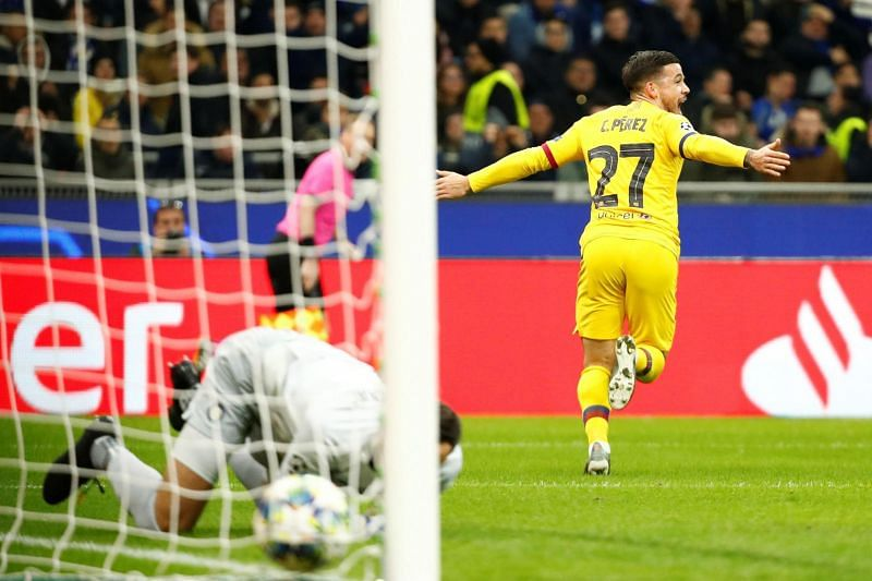 Perez wheels away to celebrate his well-taken opener - goal number two for the season - at Inter Milan